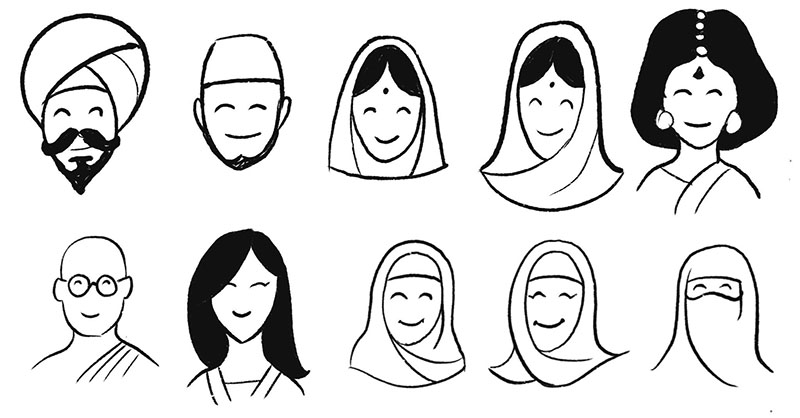Have a go at including people from different cultures and religions using these examples