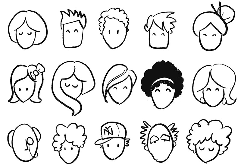 Practice drawing a variety of hair shapes and styles to indicate gender, age and background