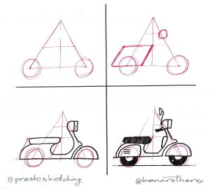 4-step guide to drawing a moped